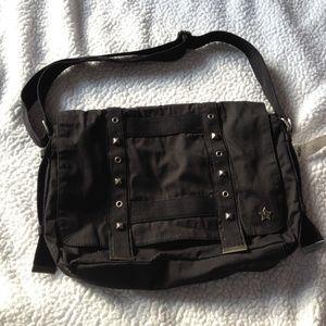 NWT Black Messenger Bag Nollie Brand with Studs